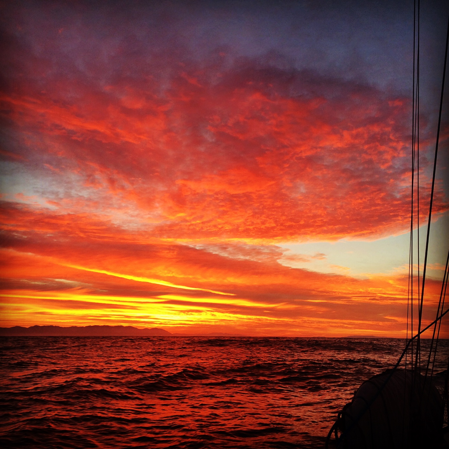 Sunrise from Far Niente on her sail south to Mexico.