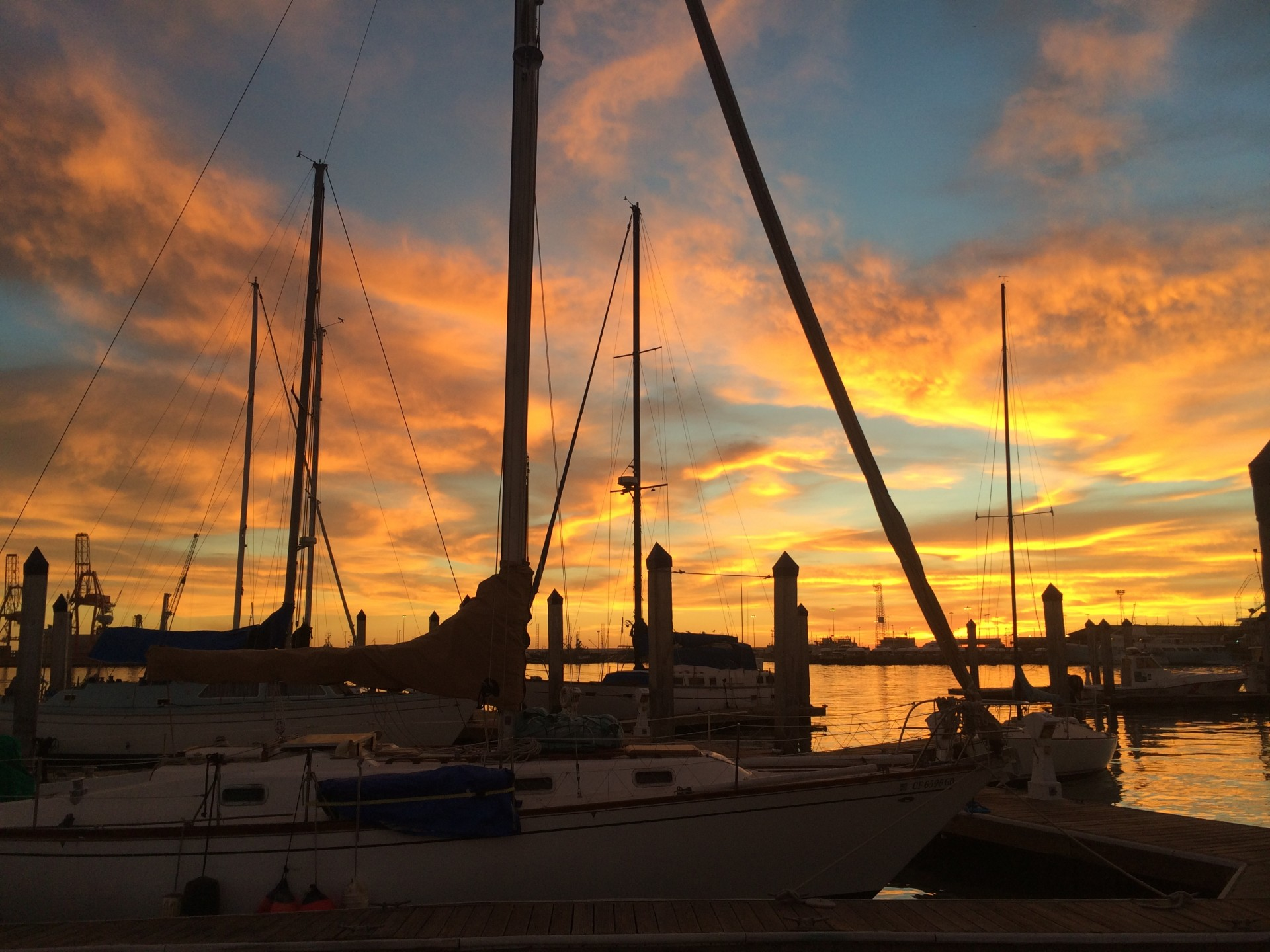 A beautiful sunset caught us pleasantly off guard in the Ensenada harbor.