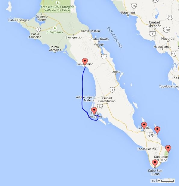 The approximate route, 22 hours: San Juanico to Puerto Magdalena.
