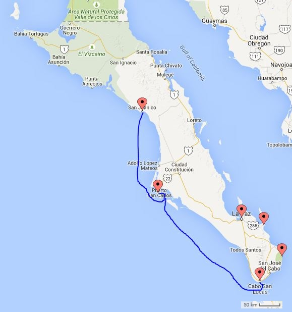 "The approximate route from ""Mag Bay"" to Cabo, 26 hours, 6,000 whales, and a couple trips to the blue bucket for me."