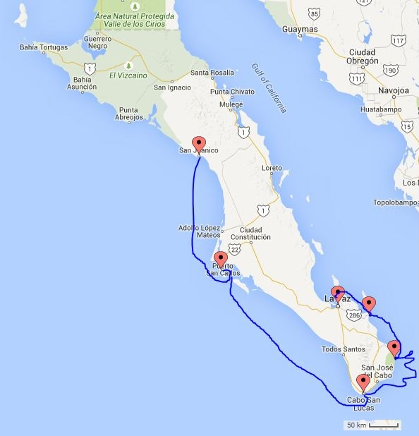 The approximate route from Los Frailes, stopping in Bahia (or Ensenada) de Muertos (or Sueños), through the Cerralvo Channel and into Playa Balandra.