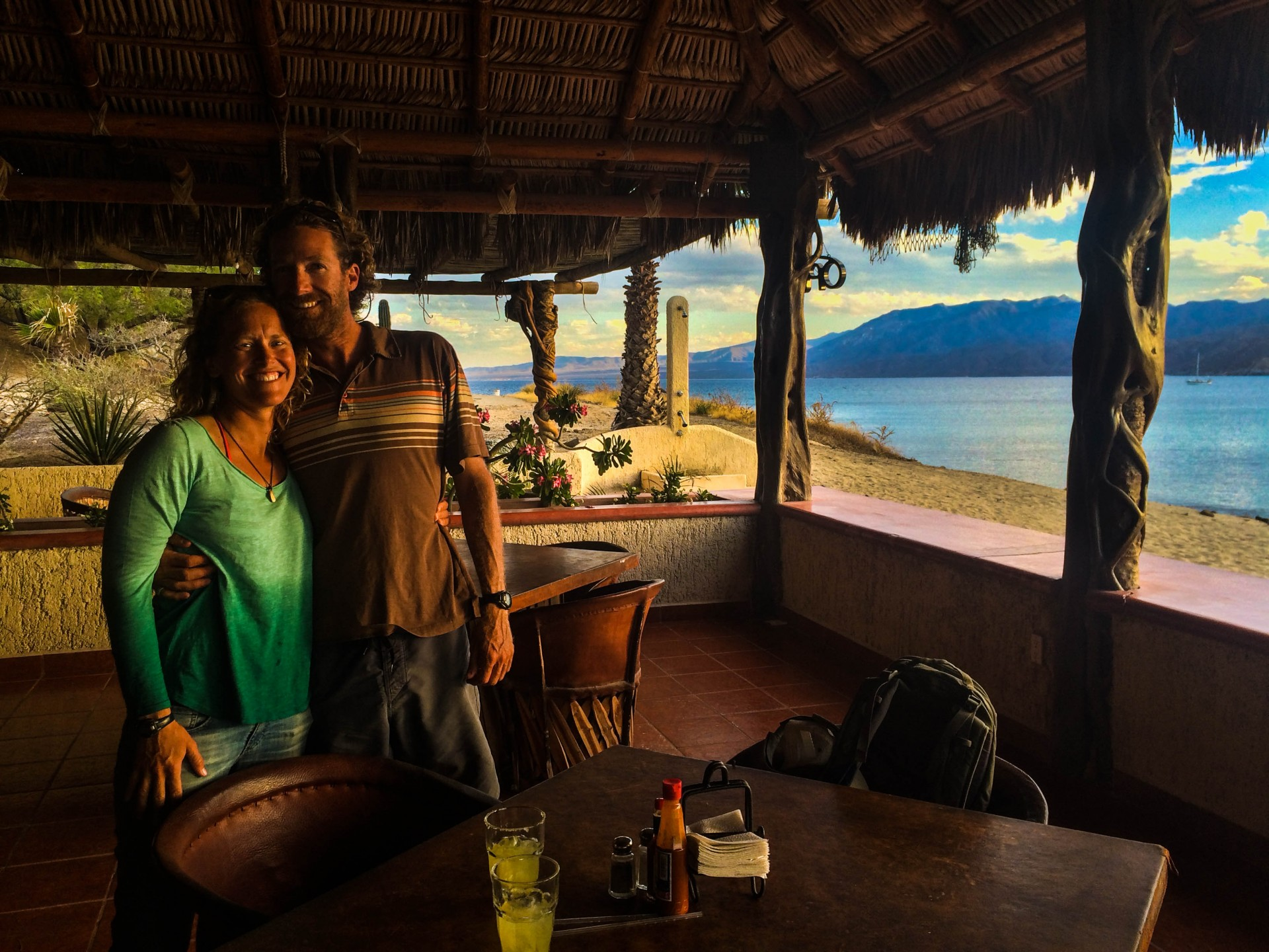 The tranquil restaurant at Bahia de los Muertos. We met two sailor here who we would keep in touch with in La Paz.