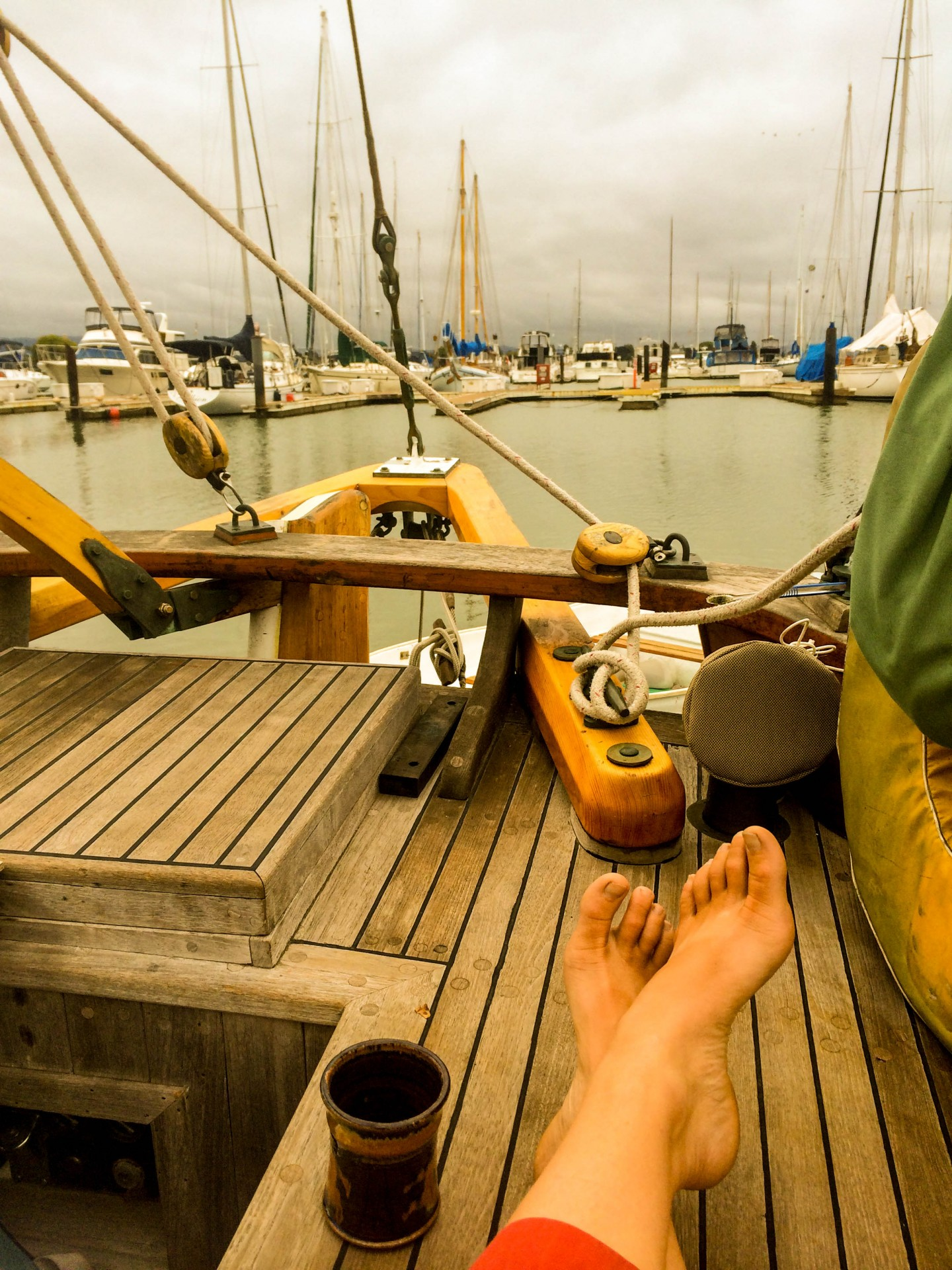 Coffee on Syrinx's teak decks in Alameda.