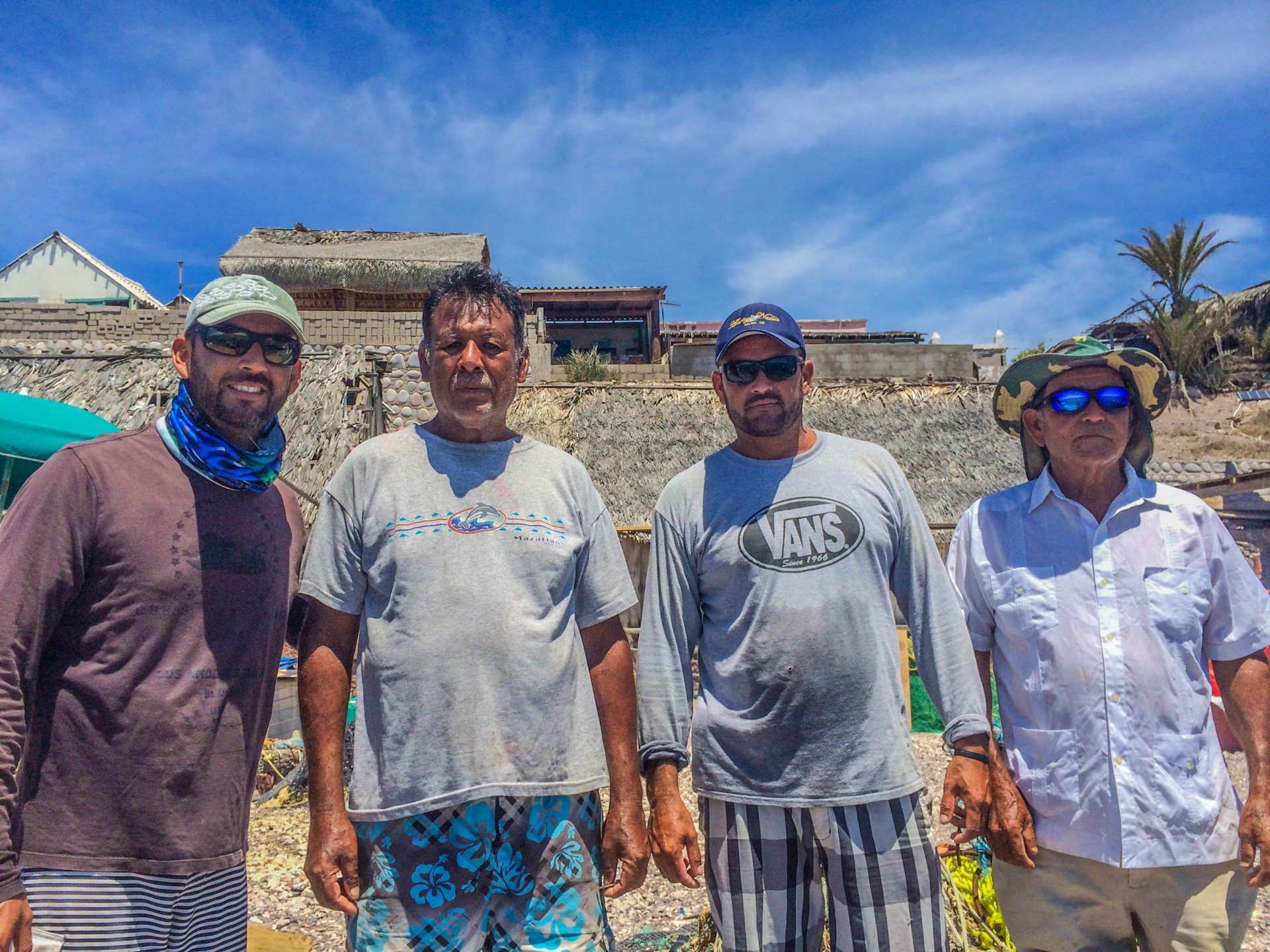 The men of Pardito. Pablo is on the right, Roberto second from the left, and the sons who arrived by panga are the other two.