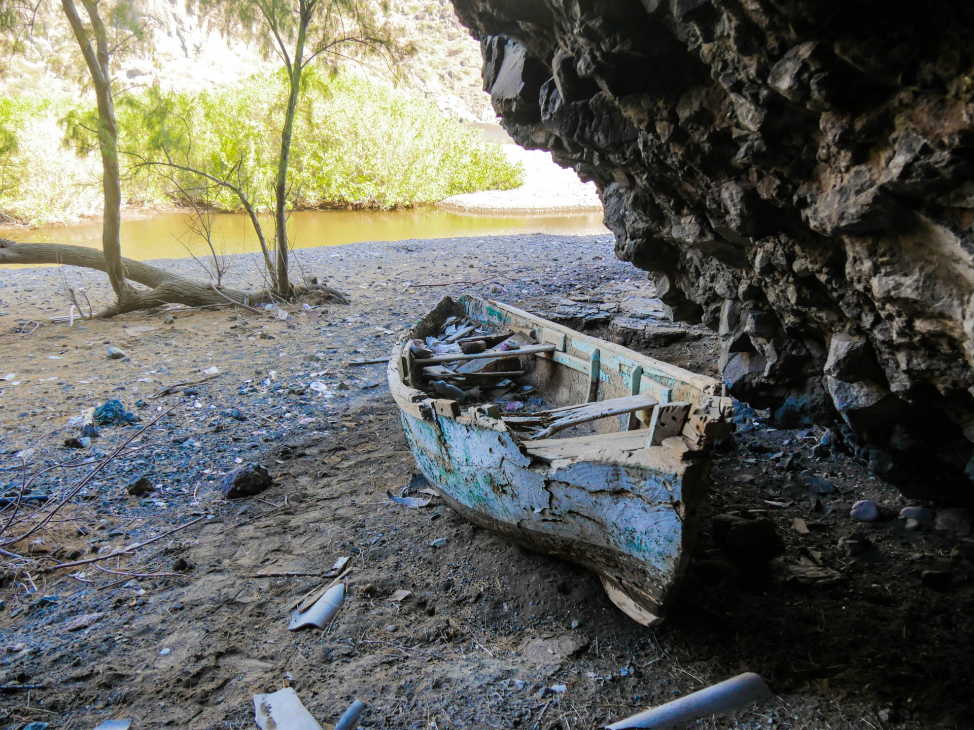 The boat in the cave.
