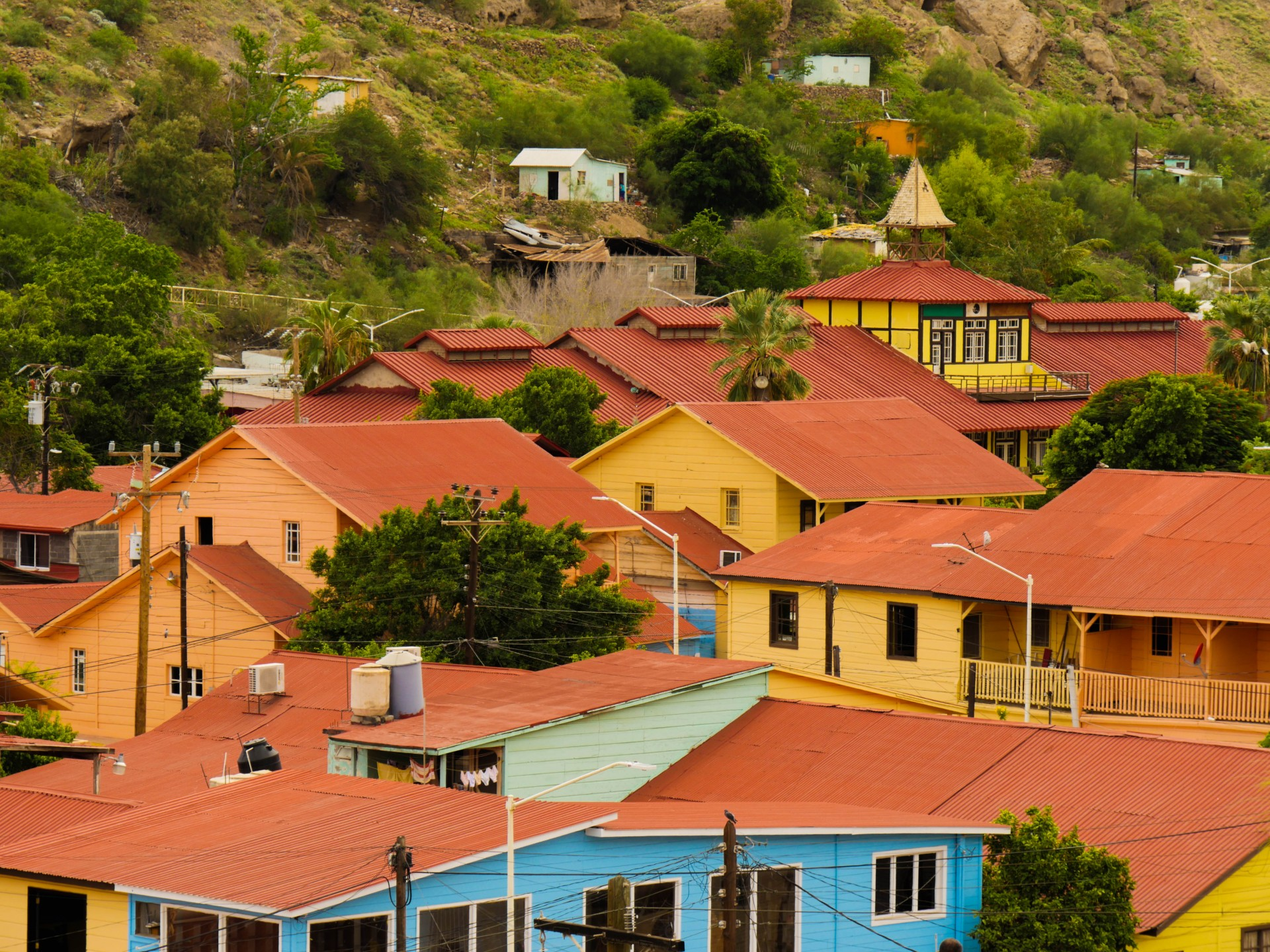The roofs and colorful clapboard in the center of Santa Rosalía.