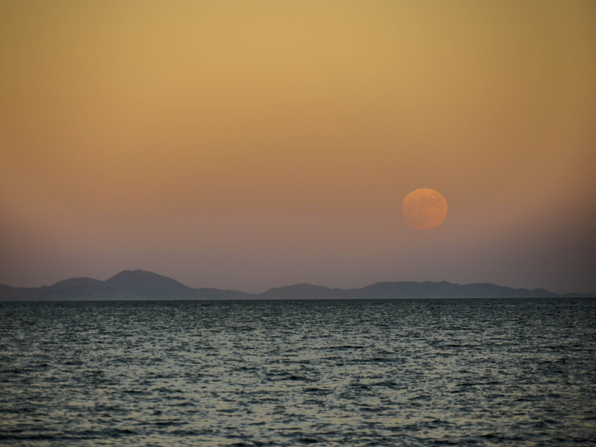 A full moon rising over the Bay.
