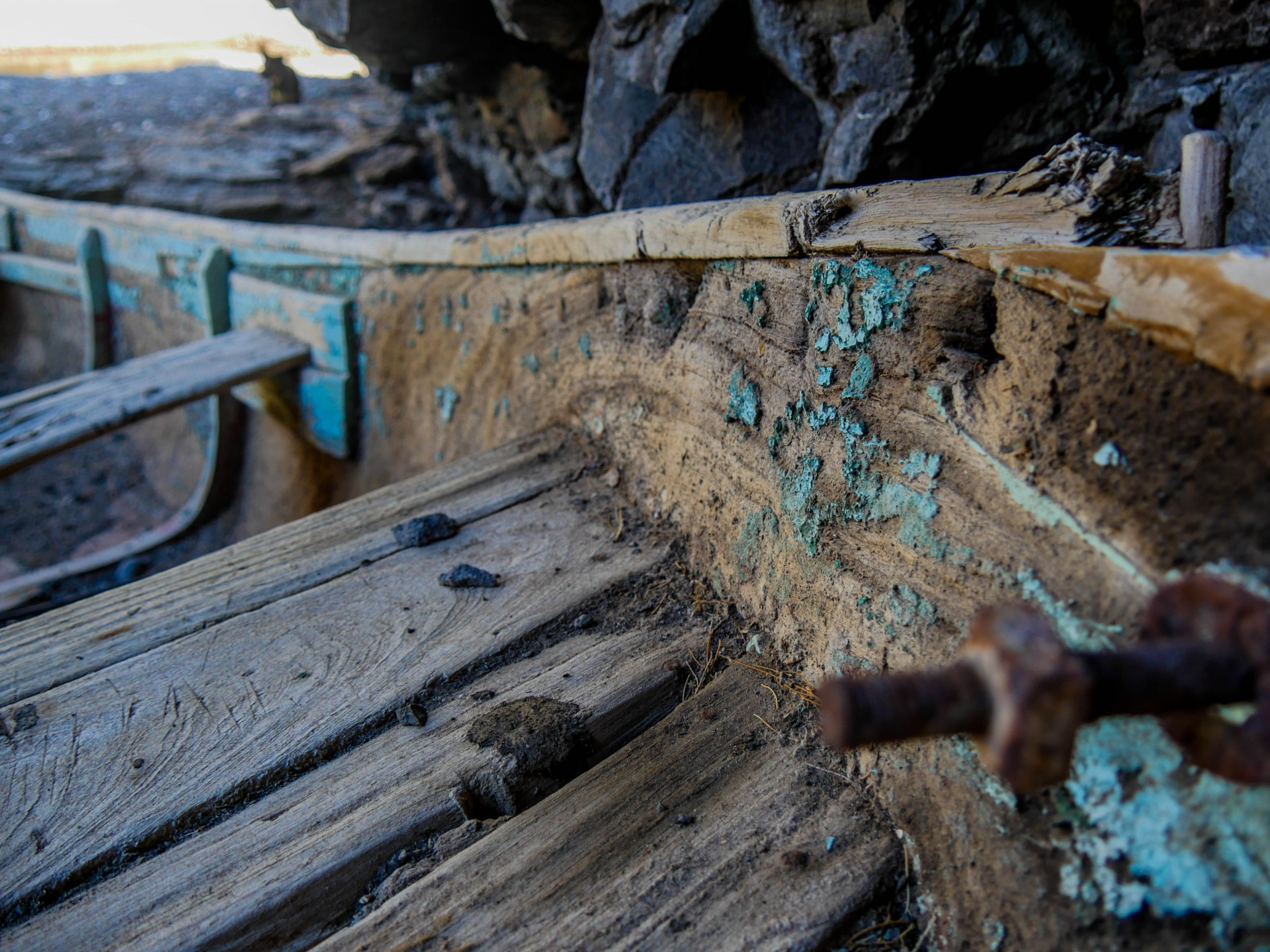 An old sailing canoe abandoned in a cave along the Baja coast.