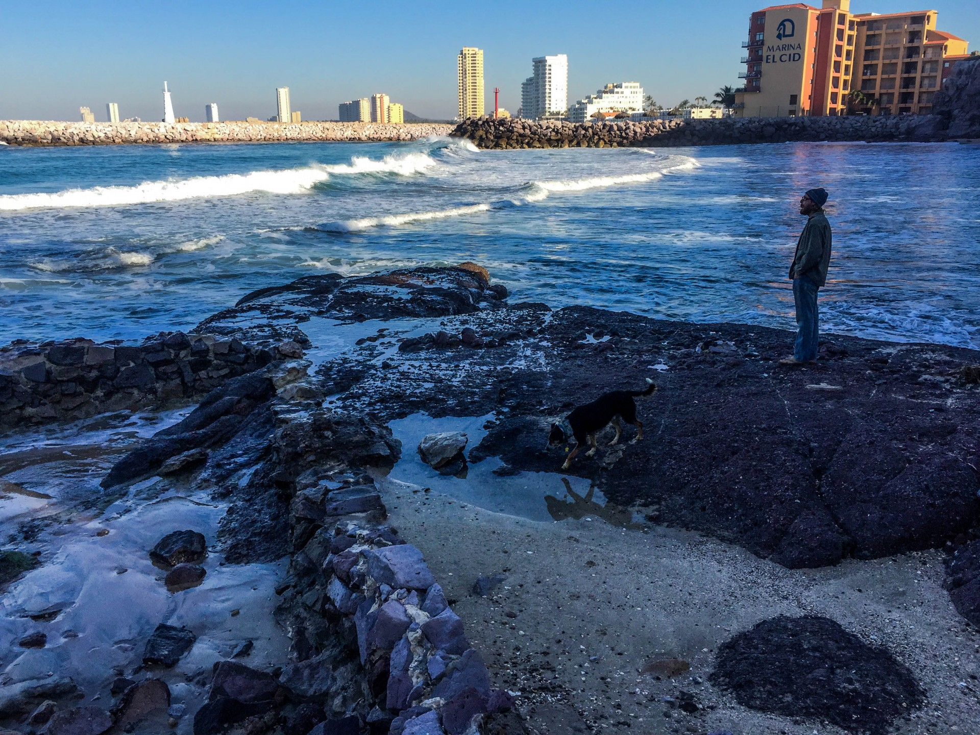 Mazatlán and the rising tide just outside of the marina. The breakwater becomes impassable with bigger swells.
