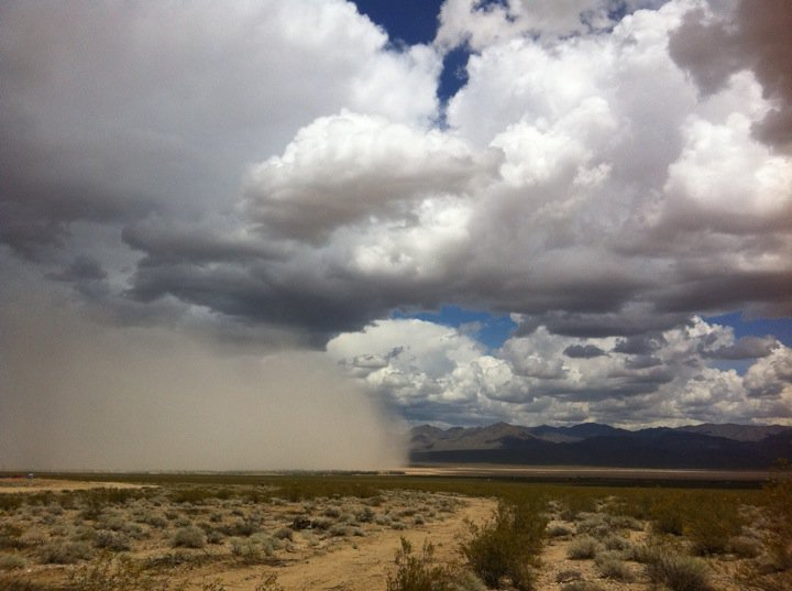 Dust storm in Ivanpah Valley, California, now the site of the Ivanpah Solar Electric Generating Station.